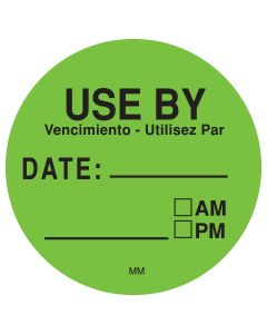 513534 Removable 38mm Round Green Use By Label